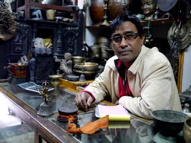 Bishnu in his shop