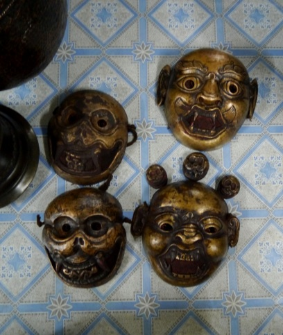 Bhutanese masks from Bishnu's back room