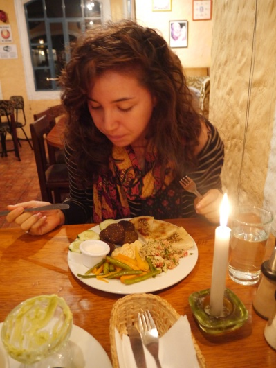 Eating the Vegetarian Falafel Plate