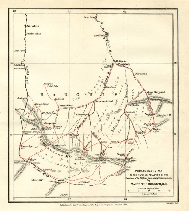 1885 Routes of Afghan Boundary Commission