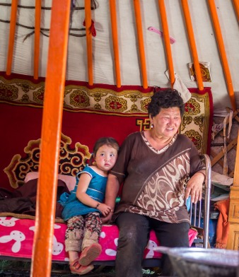 Girl and Grandma in the Ger