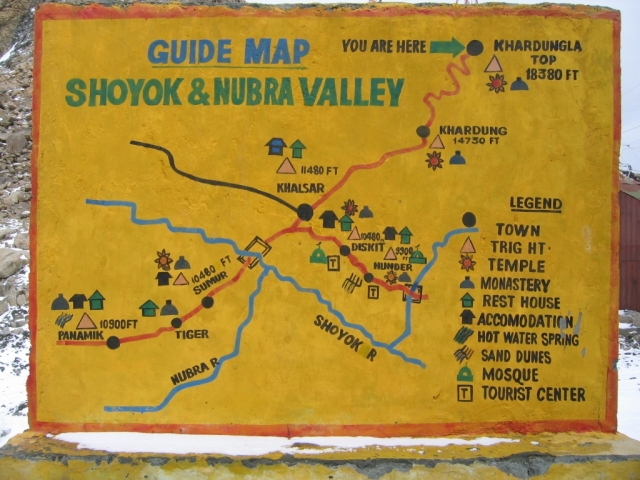 Shoyok and Nubra Valley Map